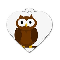 Cute Transparent Brown Owl Dog Tag Heart (two Sides) by Valentinaart