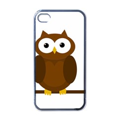 Cute Transparent Brown Owl Apple Iphone 4 Case (black) by Valentinaart