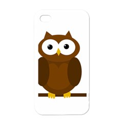 Cute Transparent Brown Owl Apple Iphone 4 Case (white) by Valentinaart