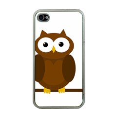 Cute Transparent Brown Owl Apple Iphone 4 Case (clear) by Valentinaart
