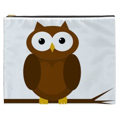 Cute Transparent Brown Owl Cosmetic Bag (xxxl)  by Valentinaart