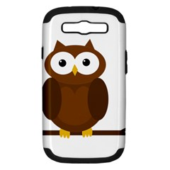 Cute Transparent Brown Owl Samsung Galaxy S Iii Hardshell Case (pc+silicone) by Valentinaart