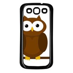 Cute Transparent Brown Owl Samsung Galaxy S3 Back Case (black) by Valentinaart