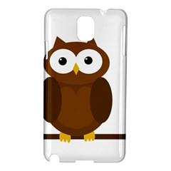 Cute Transparent Brown Owl Samsung Galaxy Note 3 N9005 Hardshell Case by Valentinaart