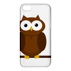 Cute Transparent Brown Owl Apple Iphone 5c Hardshell Case by Valentinaart