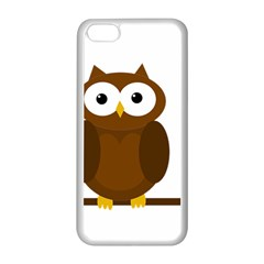 Cute Transparent Brown Owl Apple Iphone 5c Seamless Case (white) by Valentinaart