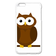 Cute Transparent Brown Owl Apple Iphone 6 Plus/6s Plus Enamel White Case by Valentinaart