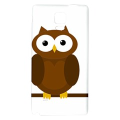 Cute Transparent Brown Owl Galaxy Note 4 Back Case by Valentinaart