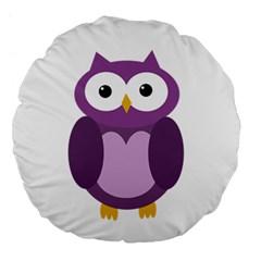 Purple transparetn owl Large 18  Premium Flano Round Cushions by Valentinaart