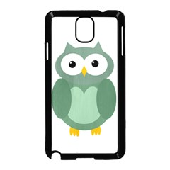 Green cute transparent owl Samsung Galaxy Note 3 Neo Hardshell Case (Black) by Valentinaart