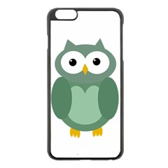 Green Cute Transparent Owl Apple Iphone 6 Plus/6s Plus Black Enamel Case by Valentinaart