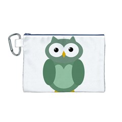 Green Cute Transparent Owl Canvas Cosmetic Bag (m) by Valentinaart