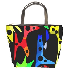 Colorful Abstract Pattern Bucket Bags by Valentinaart