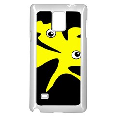 Yellow Amoeba Samsung Galaxy Note 4 Case (white) by Valentinaart