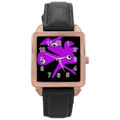 Purple Amoeba Rose Gold Leather Watch  by Valentinaart