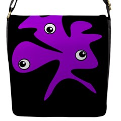 Purple Amoeba Flap Messenger Bag (s) by Valentinaart
