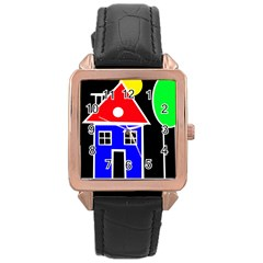 Kids Drawing Rose Gold Leather Watch  by Valentinaart