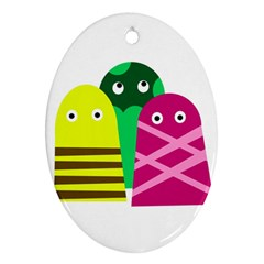 Three Mosters Ornament (oval)  by Valentinaart