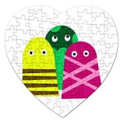 Three Mosters Jigsaw Puzzle (heart) by Valentinaart
