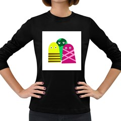 Three Mosters Women s Long Sleeve Dark T Shirts by Valentinaart