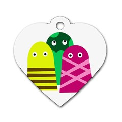 Three Mosters Dog Tag Heart (two Sides) by Valentinaart