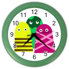 Three Mosters Color Wall Clocks by Valentinaart