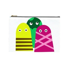 Three Mosters Cosmetic Bag (large)  by Valentinaart