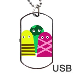 Three Mosters Dog Tag Usb Flash (one Side) by Valentinaart