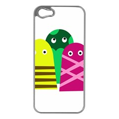 Three Mosters Apple Iphone 5 Case (silver) by Valentinaart