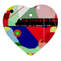 Abstract Train Ornament (heart)  by Valentinaart