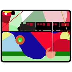 Abstract Train Double Sided Fleece Blanket (large)  by Valentinaart
