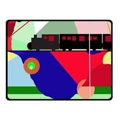 Abstract Train Fleece Blanket (small) by Valentinaart