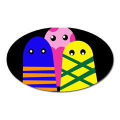 Three monsters Oval Magnet by Valentinaart