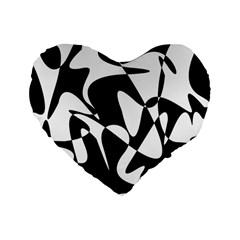 Black And White Elegant Pattern Standard 16  Premium Heart Shape Cushions by Valentinaart