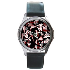 Red, Black And White Abstraction Round Metal Watch by Valentinaart