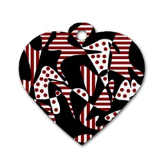 Red, Black And White Abstraction Dog Tag Heart (one Side) by Valentinaart