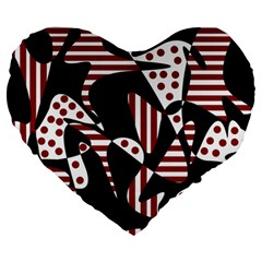 Red, Black And White Abstraction Large 19  Premium Heart Shape Cushions by Valentinaart