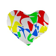Colorful Abstraction Standard 16  Premium Flano Heart Shape Cushions by Valentinaart