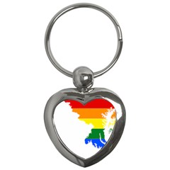 Lgbt Flag Map Of Maryland  Key Chains (heart)  by abbeyz71
