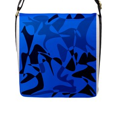 Blue Pattern Flap Messenger Bag (l)  by Valentinaart