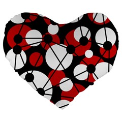 Red, Black And White Pattern Large 19  Premium Flano Heart Shape Cushions by Valentinaart