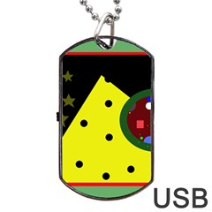 Abstract Design Dog Tag Usb Flash (two Sides)  by Valentinaart