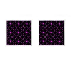 Purple floral pattern Cufflinks (Square) by Valentinaart