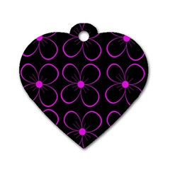 Purple Floral Pattern Dog Tag Heart (two Sides) by Valentinaart