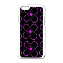 Purple Floral Pattern Apple Iphone 6/6s White Enamel Case by Valentinaart