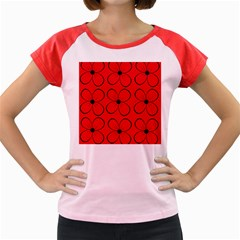 Red floral pattern Women s Cap Sleeve T-Shirt by Valentinaart