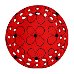 Red Floral Pattern Round Filigree Ornament (2side) by Valentinaart