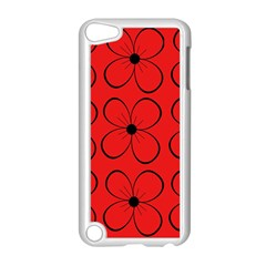 Red Floral Pattern Apple Ipod Touch 5 Case (white) by Valentinaart