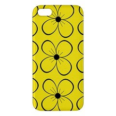 Yellow Floral Pattern Iphone 5s/ Se Premium Hardshell Case by Valentinaart