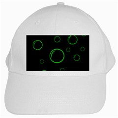 Green Buubles Pattern White Cap by Valentinaart